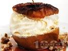 Рецепта Печени ябълки с мед, орехи и сметана